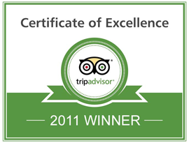 TripAdvisor Certificate of Excellence 2011