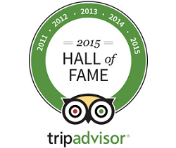 TripAdvisor Certificate of Excellence 2015 Hall of Fame