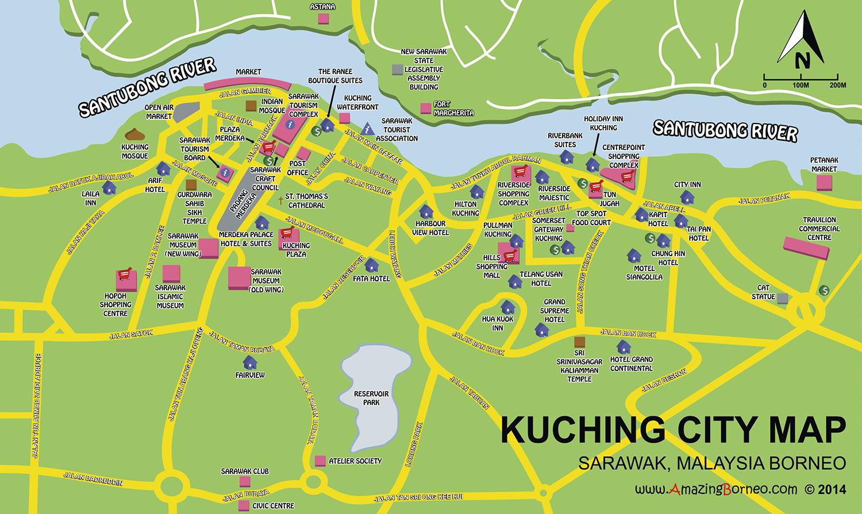 Maps Of Sarawak Amazing Borneo Tours - Kuching map