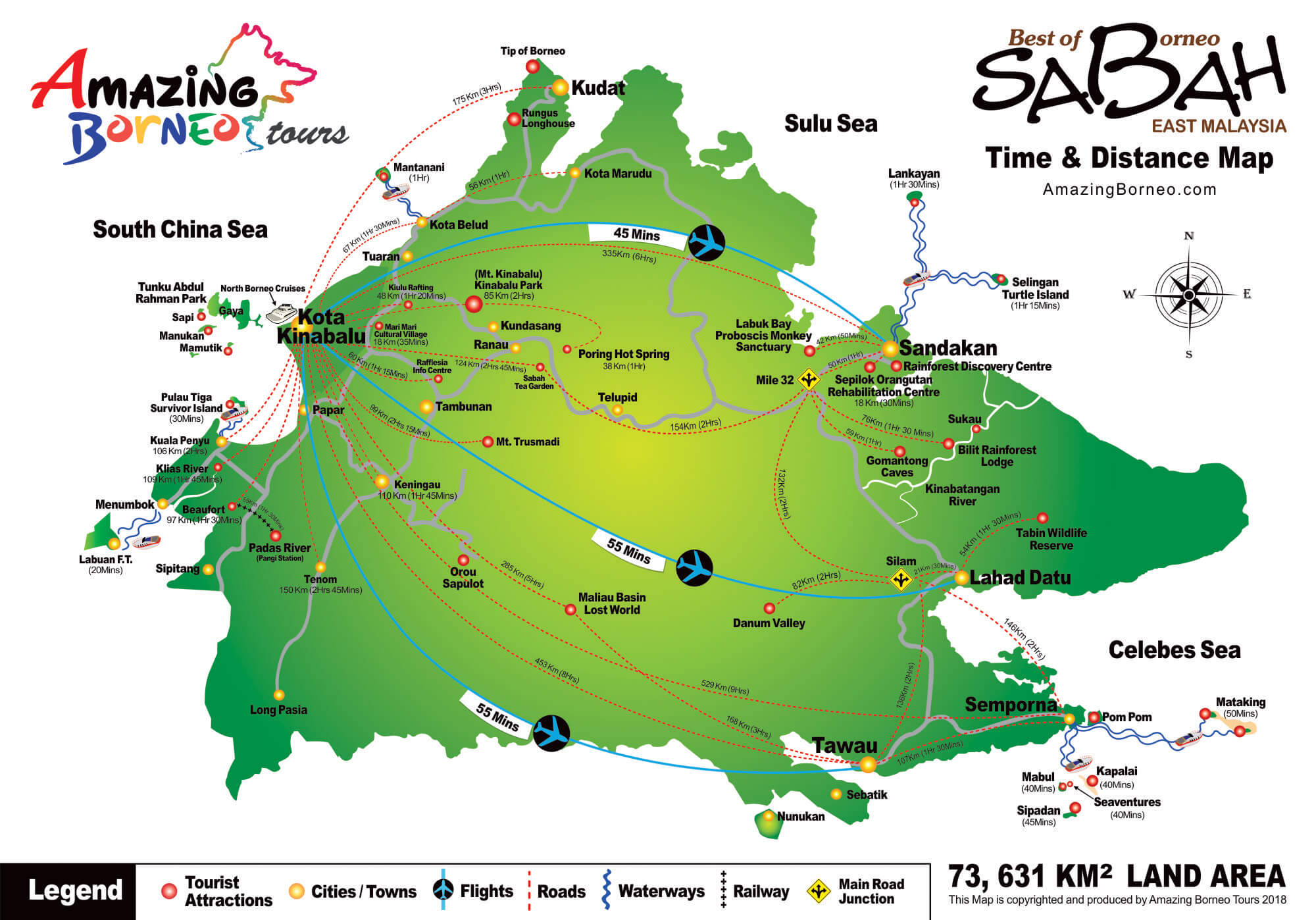 Sabah Map Time & Distance - East Malaysia Amazing Borneo