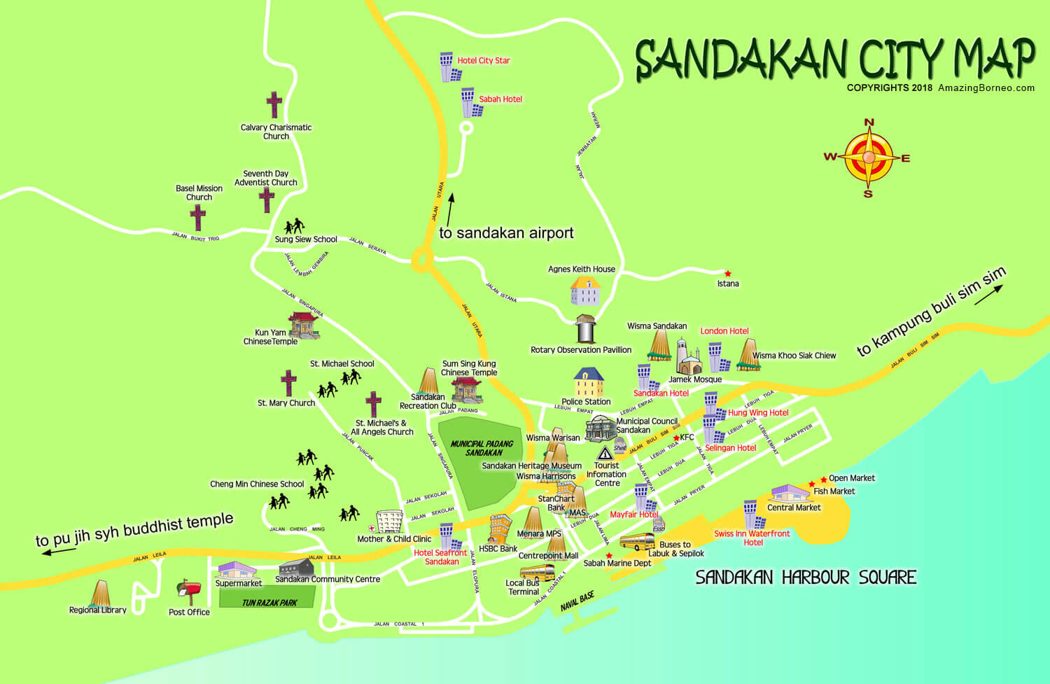 Sandakan City Map - Amazing Borneo