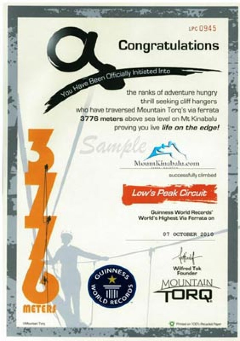 Challenge yourself with the toughest route to reach the Low's Peak! This certificate will be your proof!